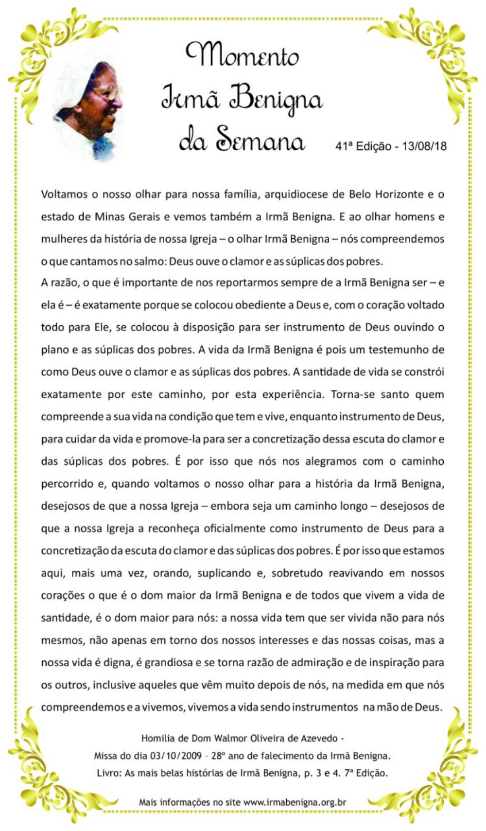 4c1e20e05 Momento Irmã Benigna da Semana - 40ª semana